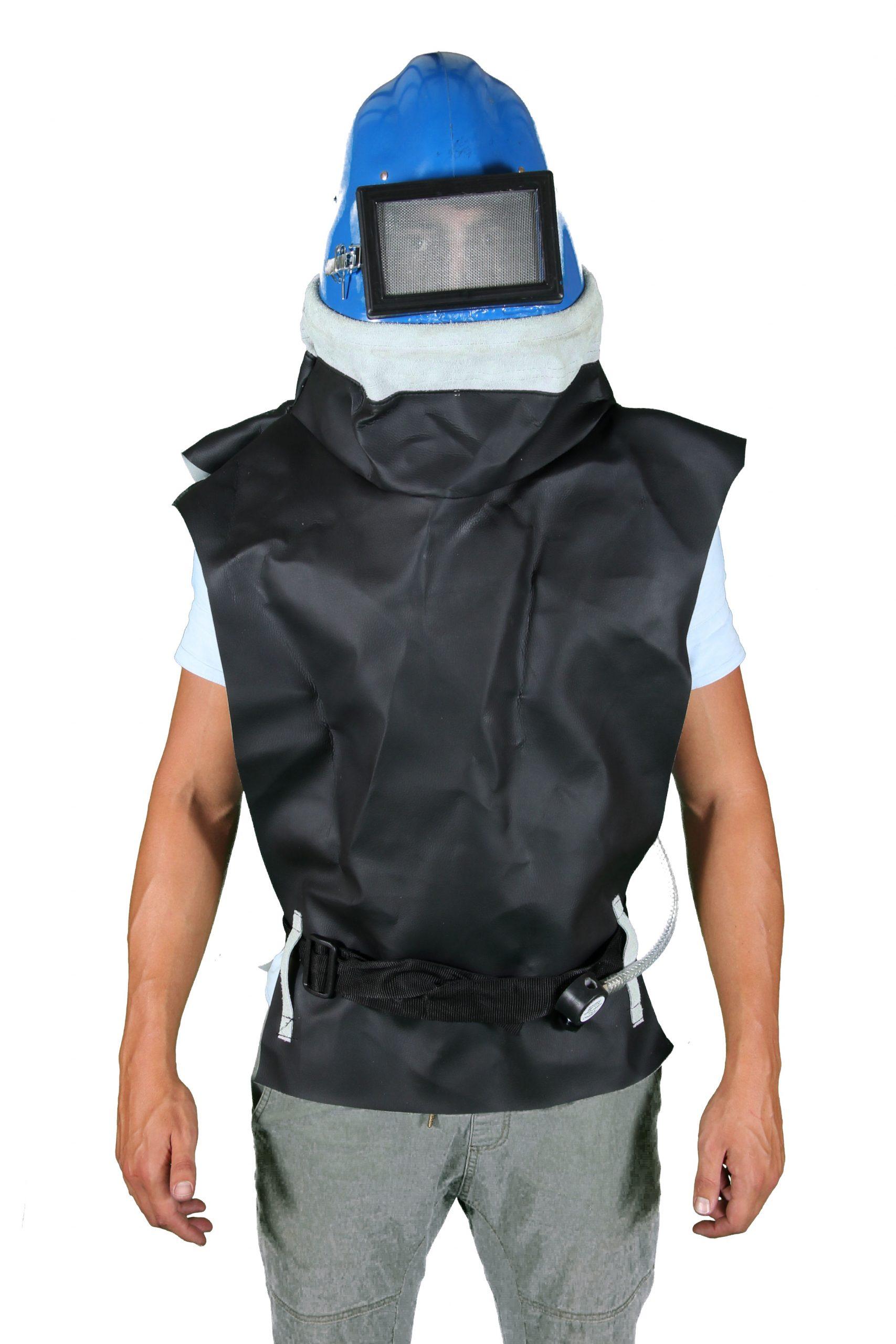 Blue Ruberized Sandblasting Helmet