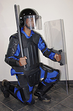 Full riot gear with deluxe body protection deluxe helmet, 1M shield_ baton