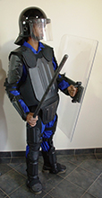 Full riot gear with deluxe body protection deluxe helmet 1M shield_baton